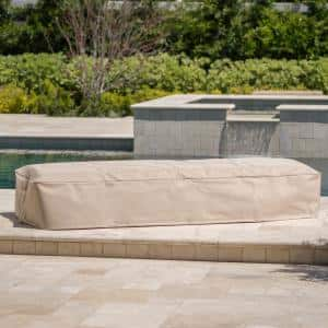 Heavenly Grey Wicker Outdoor Chaise Lounge with Beige Cover