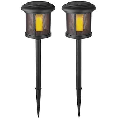 Solar Black LED Flicker Flame Path Light (2-Pack)