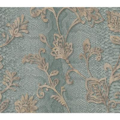 Puglia Teal Python Arabesque Teal Wallpaper Sample