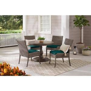 Windsor 5-Piece Brown Wicker Round Outdoor Patio Dining Set with CushionGuard Malachite Green Cushions