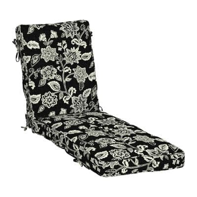 Plush BlowFill 22 in. x 30 in. Outdoor Chaise Lounge Cushion in Ashland Black Jacobean