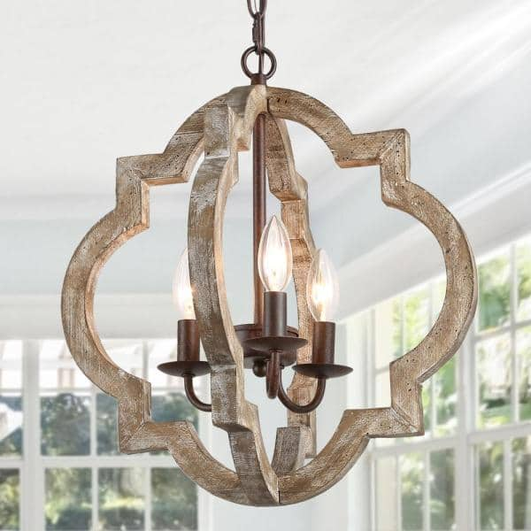 Lnc Farmhouse Rustic Bronze Weathered, Wood Chandelier Dining Room
