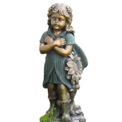 27 in. Tall Fairy with Crossed Arms Garden Statue Tush