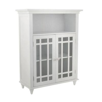 Albion 26-1/2 in. W x 34 in. H x 12 in. D 2-Door Bathroom Linen Storage Floor Cabinet in White