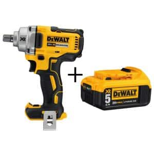 20-Volt MAX XR Cordless Brushless 1/2 in. Mid-Range Impact Wrench with Detent Pin Anvil & (1) 20-Volt 5.0Ah Battery