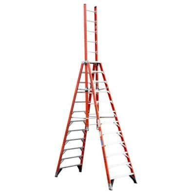 12 ft. Fiberglass Extension Trestle Step Ladder with 300 lb. Load Capacity Type IA Duty Rating