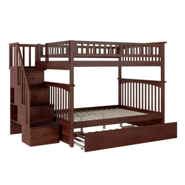 Atlantic Furniture Columbia Staircase Walnut Full Over Full Bunk Bed with Twin Urban Trundle Bed | The Home Depot