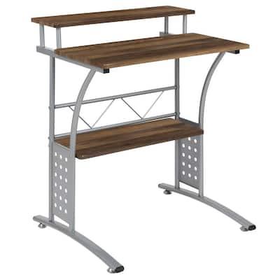 28 in. Rectangular Rustic Walnut Computer Desks with Storage