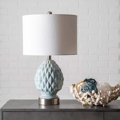 Tulsa 24 in. Light Blue Contemporary Table Lamp, Dimmable