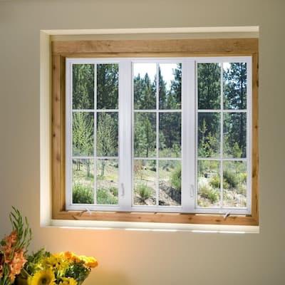 35.5 in. x 35.5 in. V-4500 Series Desert Sand Vinyl Left-Handed Casement Window with Fiberglass Mesh Screen