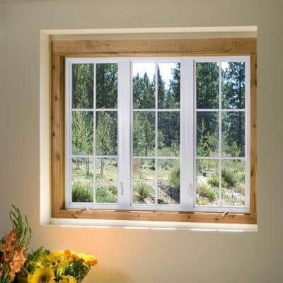 35.5 in. x 35.5 in. V-4500 Series White Vinyl Right-Handed Casement Window with Fiberglass Mesh Screen