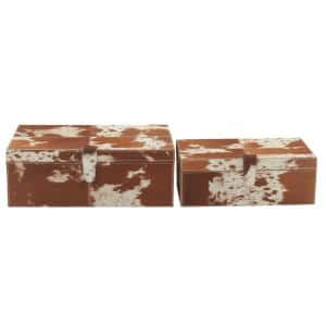 Wide Rectangular Wood and Leather Hide Brown Boxes (Set of 2)