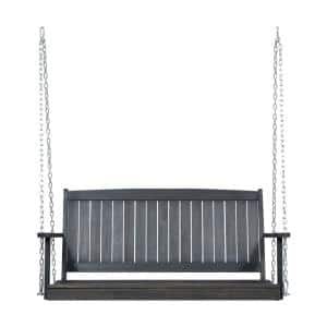 Tambora 47.75 in. 2-Person Dark Grey Wood Porch Swing