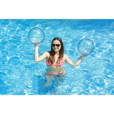 16 in. Silver Glitter Swimming Pool and Beach Play Ball (2-Pack)