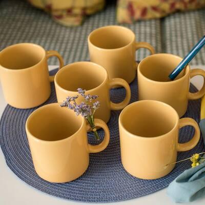 Actual 12.17 oz. Yellow Earthenware Mugs (Set of 6)
