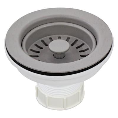 3.5 in. Plastic Strainer in Concrete Grey