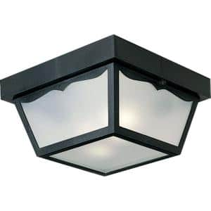 2-Light Textured Black White Acrylic Shade Traditional Outdoor Close-to-Ceiling Light