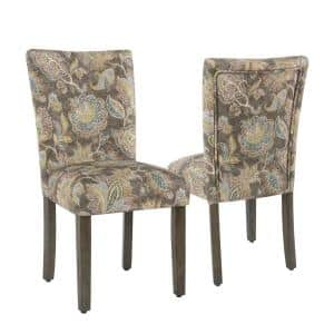 Parsons Grey Multi-Color Floral Upholstered Dining Chair (Set of 2)