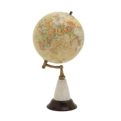 16 in. Yellow Mango Wood Contemporary Decorative Globe