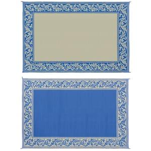 9 ft. x 12 ft. Classical Blue/Beige Reversible Mat