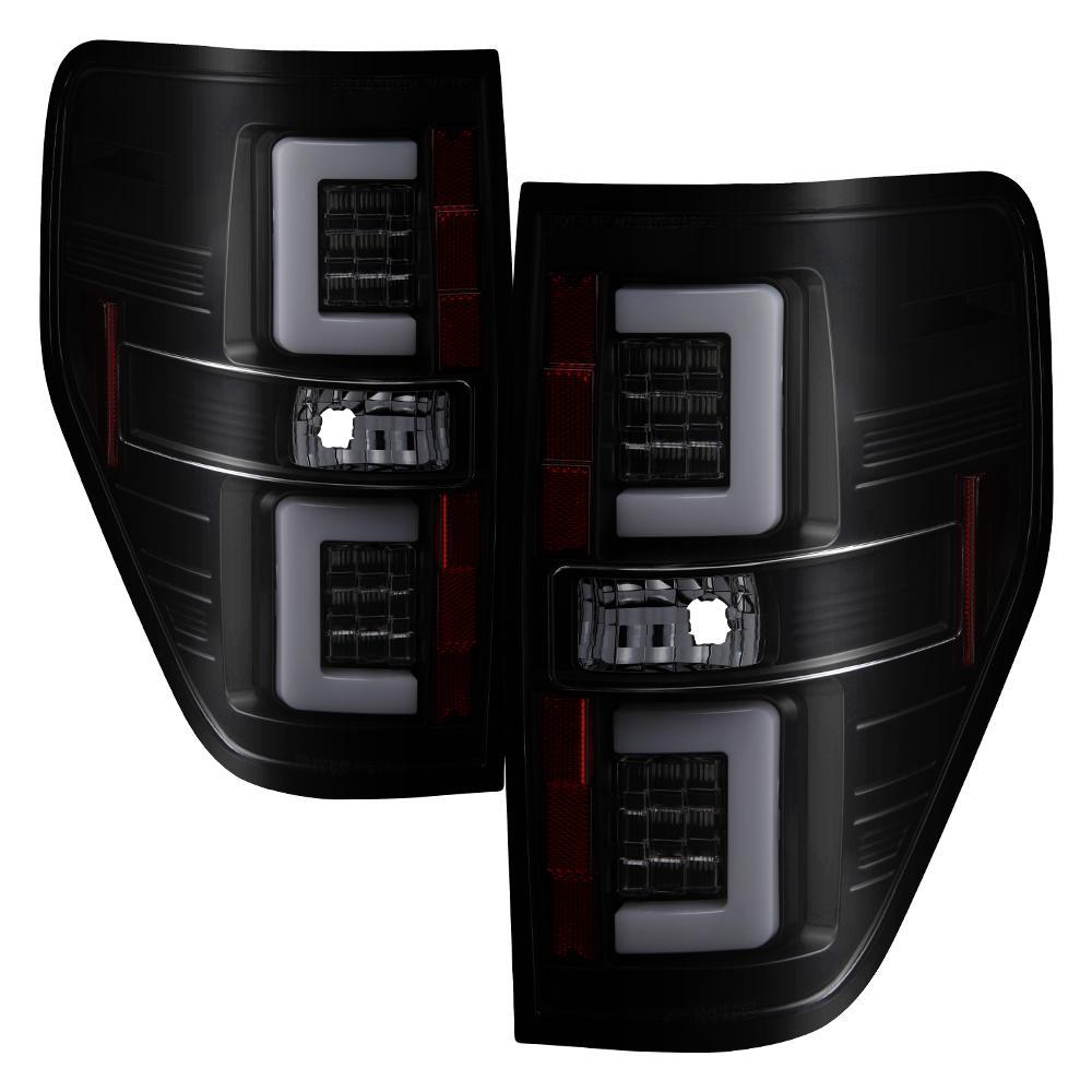 Ford F150 09-14 Version 2 Light Bar LED Tail Lights - Black Smoke