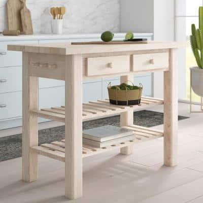Nantucket Unfinished Wood Kitchen Island with Butcher Block Top