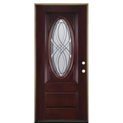 36 in. x 80 in. Everland Cianne Cherry Left-Hand Inswing 3/4 Oval Finished Smooth Fiberglass Prehung Front Exterior Door