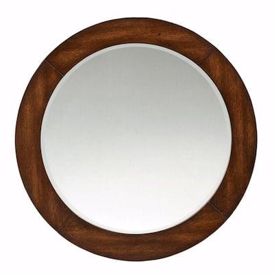 Round Brown Vanity Mirrors, Dark Brown Wood Bathroom Mirror
