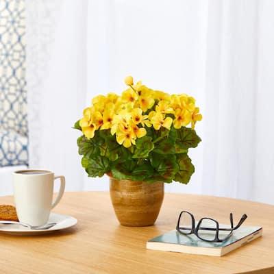 11in. Indoor/Outdoor UV Resistant Yellow Geranium Artificial Plant in Ceramic Planter