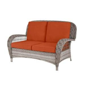 Beacon Park Gray Wicker Outdoor Patio Loveseat with CushionGuard Quarry Red Cushions