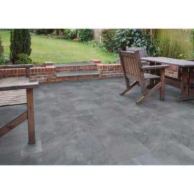 16 in. x 24 in. Rectangle Cosmic Black Pattern Sandblast Marble Paver Kit (120 pieces/160 sq. ft./Pallet)