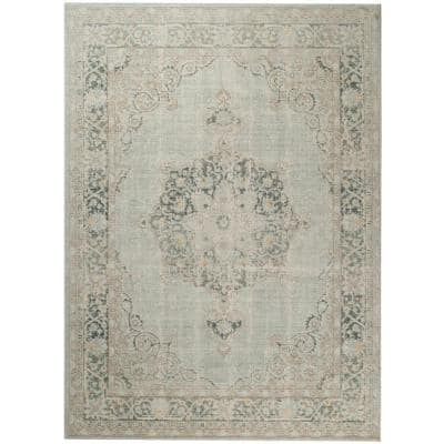 Century Sea Green 7 ft. 10 in. x 10 ft. 6 in. Vintage Medallion Area Rug