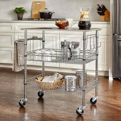 Gatefield Chrome Kitchen Cart with Stainless Top