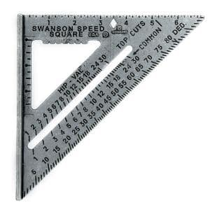 7 in. Speed Square, Rafter / Carpenter Square Layout Tool with Black Gradations and Speed Clip
