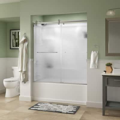 Simplicity 60 x 58-3/4 in. Frameless Contemporary Sliding Bathtub Door in Chrome with Rain Glass