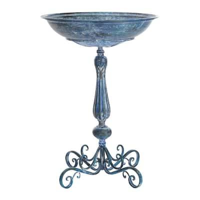 Orian Mossy Blue Iron Round Birdbath