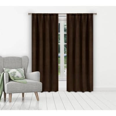Chocolate Thermal Rod Pocket Blackout Curtain - 38 in. W x 84 in. L