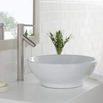 Modern Single Hole Single-Handle Vessel Bathroom Faucet in Brushed Nickel with Drain