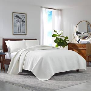 Haverhill 3-Piece Beige Solid Cotton Full/Queen Quilt Set