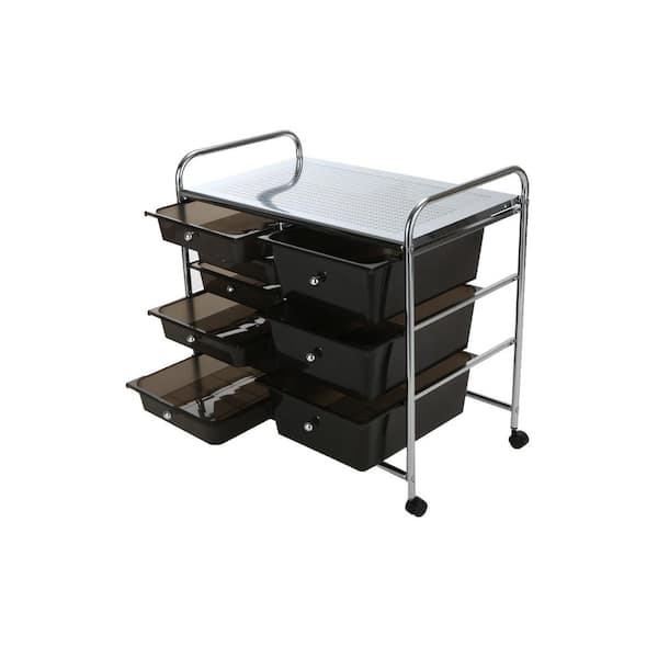 Mind Reader Top Shelf Metal 4 Wheeled, Black Storage Drawers On Wheels