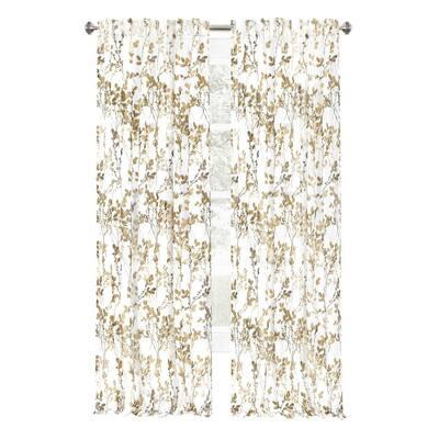 Misty 52 in. W x 63 in. L Polyester Light Filtering Curtain Panel in Hazelnut