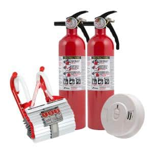 2-Story Home Fire Safety Kit, 3-Pack 10-Year Battery Smoke Detector with Fire Escape Ladder & 2-Pack Fire Extinguisher