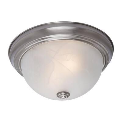 Flush Mount Lighting Series 2-Light Satin Nickel Flush Mount