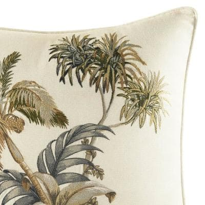 Nador Beige Floral Cotton 16 in. x 16 in. Throw Pillow