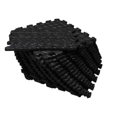 "Soft EVA Foam Mat Flooring Tiles, Black, 16 PC, 12"" x 12"", 16 sq. ft."