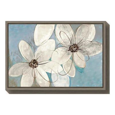 """Blue and Neutral Floral"" by Silvia Vassileva Framed Canvas Wall Art"