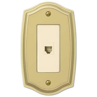 Vineyard 1 Gang Phone Steel Wall Plate - Polished Brass