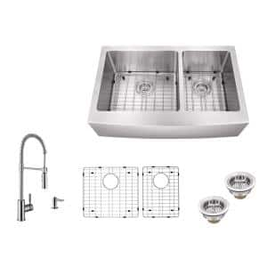 All-In-One Farmhouse Apron Front 16-Gauge Stainless Steel 35-7/8 in. 60/40 Double Bowl Kitchen Sink and Pull Down Faucet