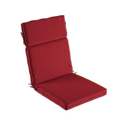 21.5 in. x 25.5 in. Indoor/Outdoor 3-Section High-Back Patio Chair Cushion - UV, Stain and Mildew Resistant in Red