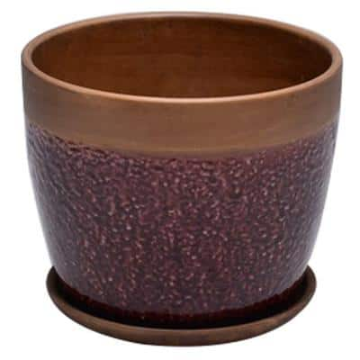 6 in. Dia Brown Geode Ceramic Planter